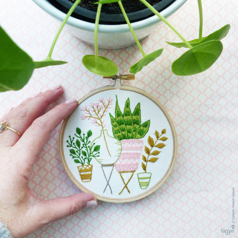 "Pink & Green Houseplants - 4"" embroidery kit"