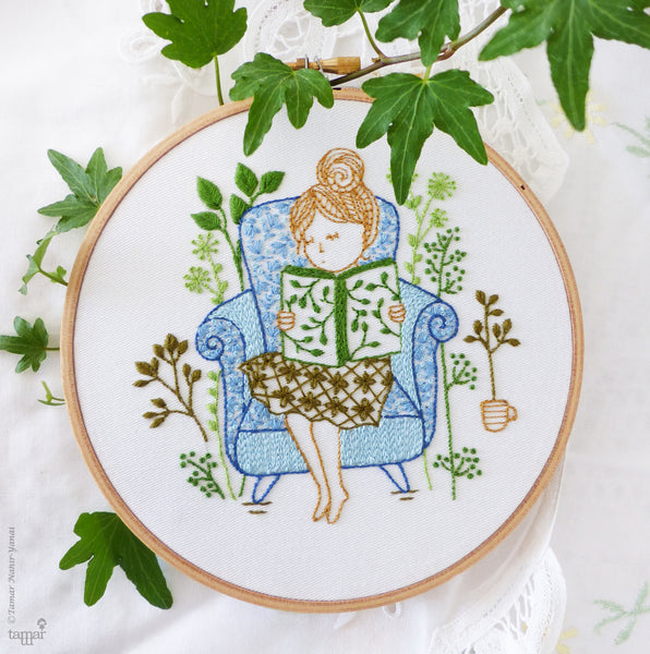 "Reading Time - 6"" embroidery kit"