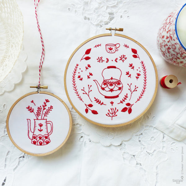 Discounted Bundle of 2 Embroidery Kits, Redwork embroidery - 'Red Vase', 'Antique Red Kettle'