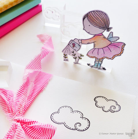 Stamp Sets Little Fairy Watering Flowers