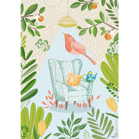 Tea Bird print wall art
