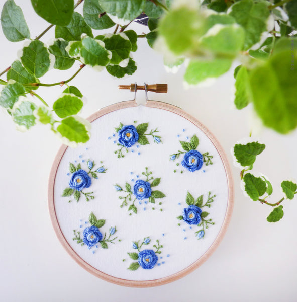"The Blue Flower - 4"" embroidery kit"