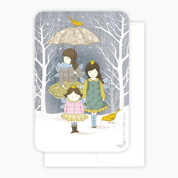 Three friends with umbrella Card