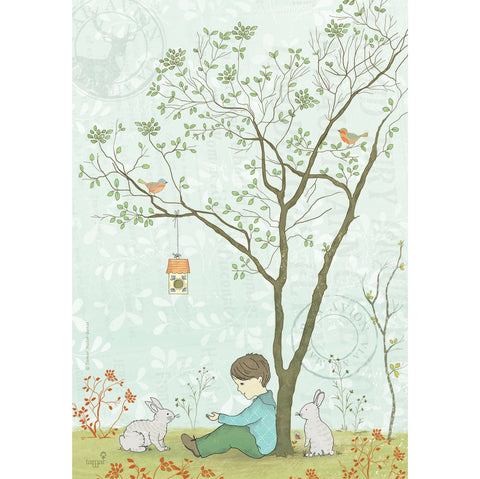 Tree and rabbit print wall art