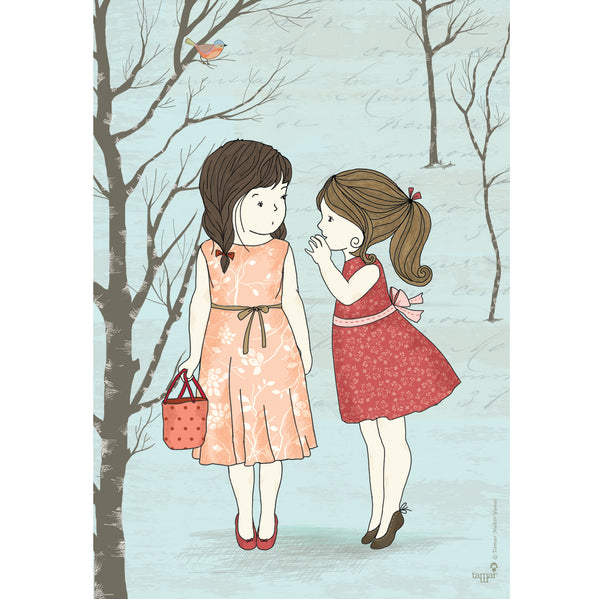 Two Girls and a Secret print wall art