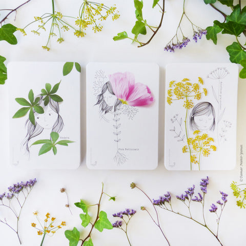 Botanical Girls series - Complete set of 3 cards