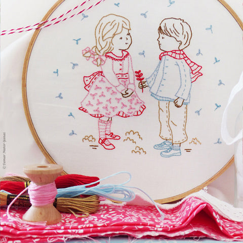 "Winter Girl & Boy - 8"" embroidery kit"