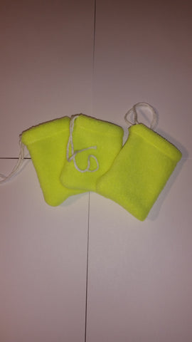 Pack of 3 Yellow flannel mojo bags 3x4""