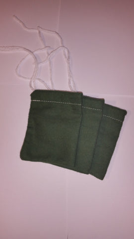 3 pack of green flannel mojo bags. 3x4""