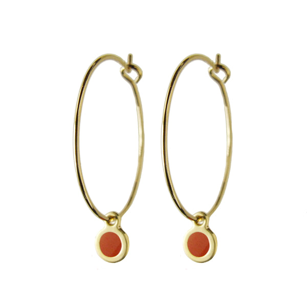 Delicate gold hoop dot earrings in brandy