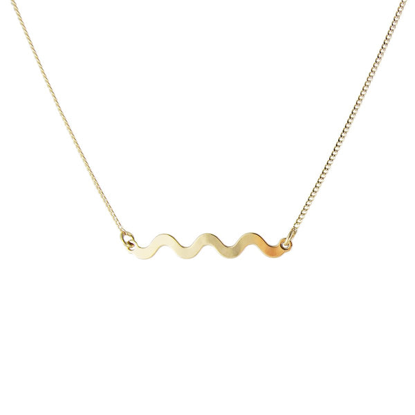 Minimal gold Memphis squiggle necklace