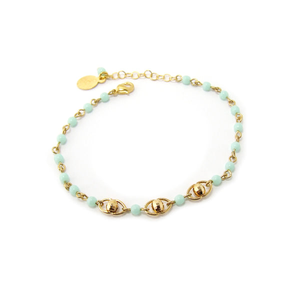 Delicate gold plated bracelet with tiny glass beads