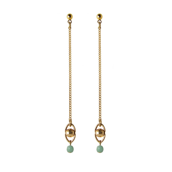 Long ball stud earrings in gold