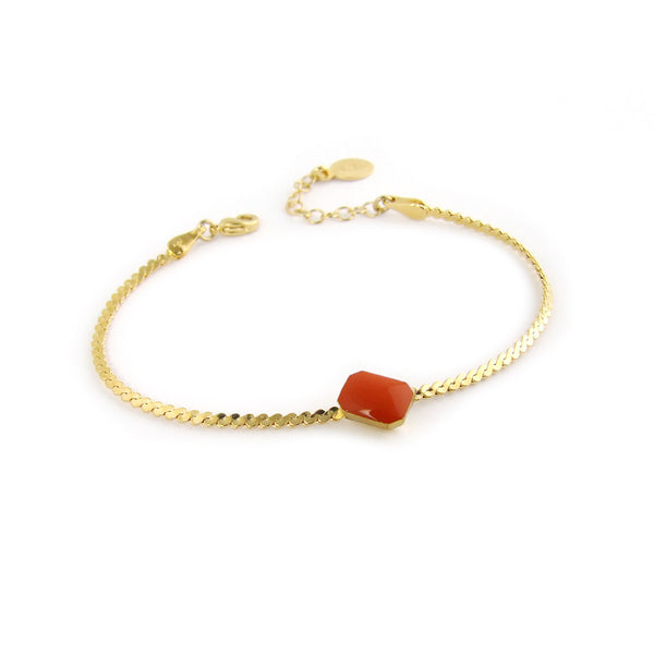 Gold plated chain bracelet with colourful detail