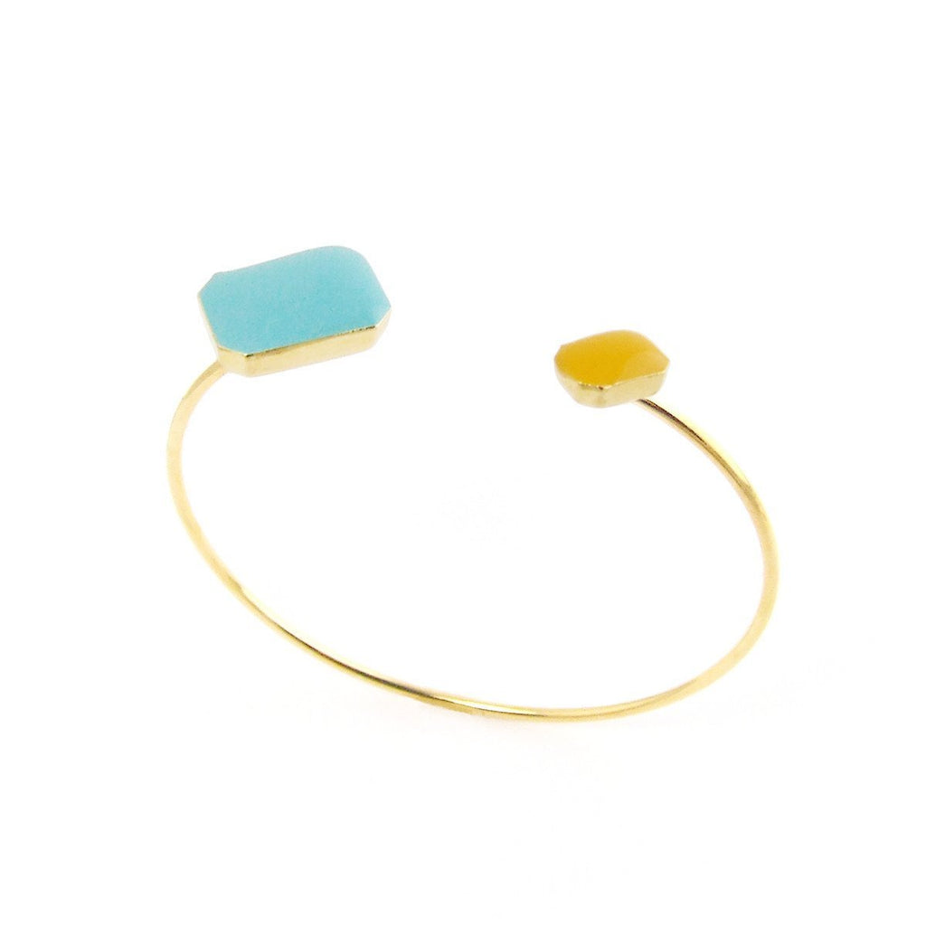 Gold octagons floating bangle