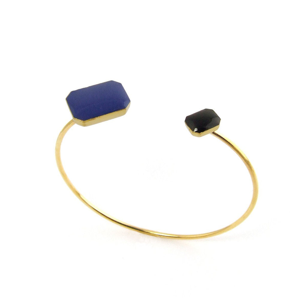 Gold plated two-tone floating bangle