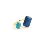 Gold plated enamelled floating ring
