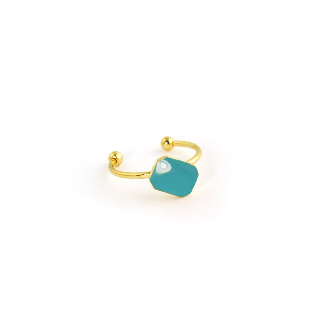 Dainty octagon ring with enamel in gold