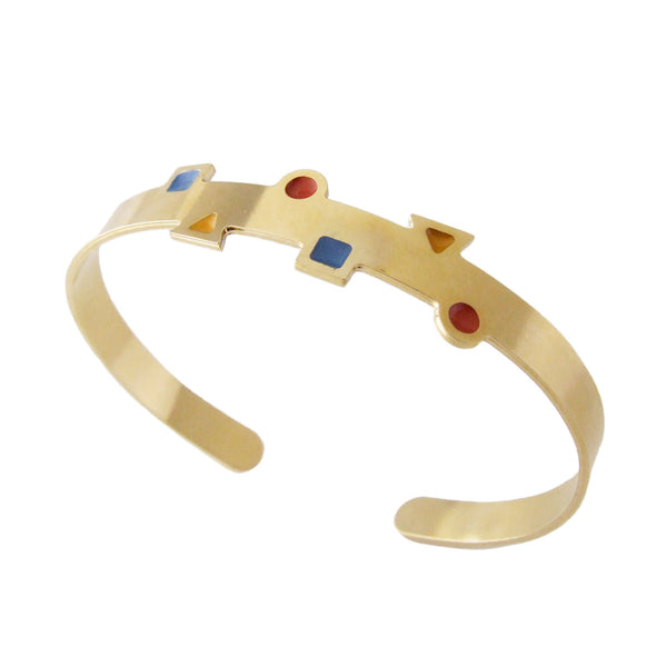 Geometric thin gold cuff bracelet