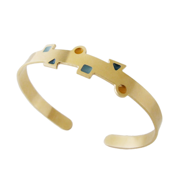 Geometric thin cuff bracelet in gold