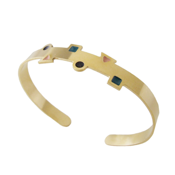 Gold geometric thin cuff bracelet