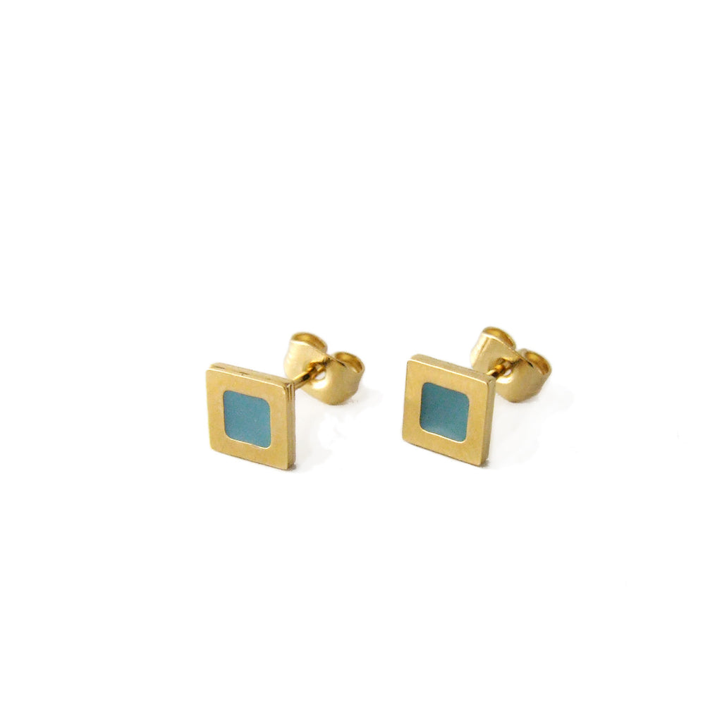 Tiny square stud earrings