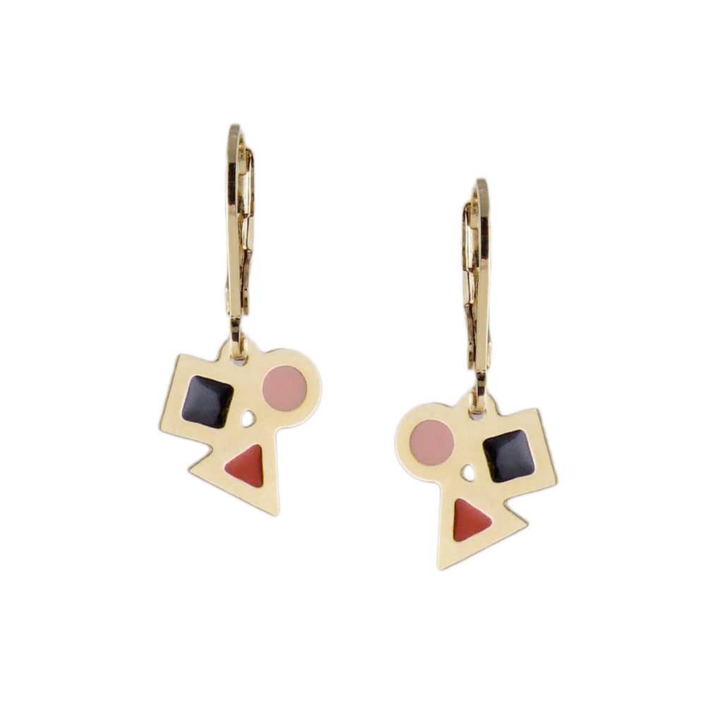 Playful and colourful little gold earrings