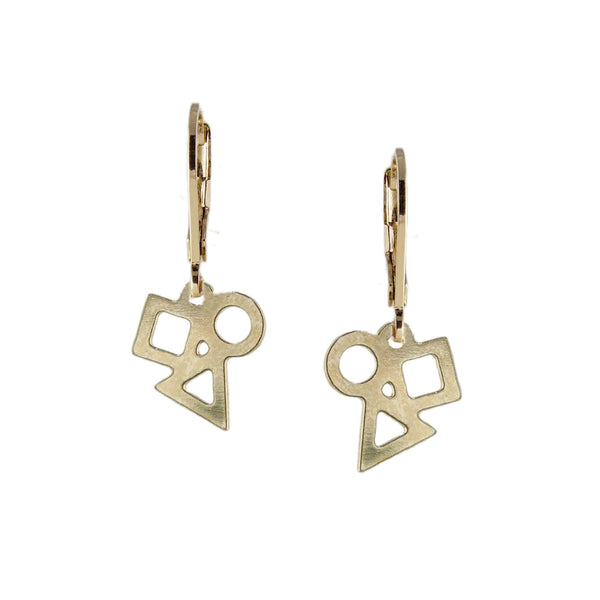 Playful gold geometric earrings