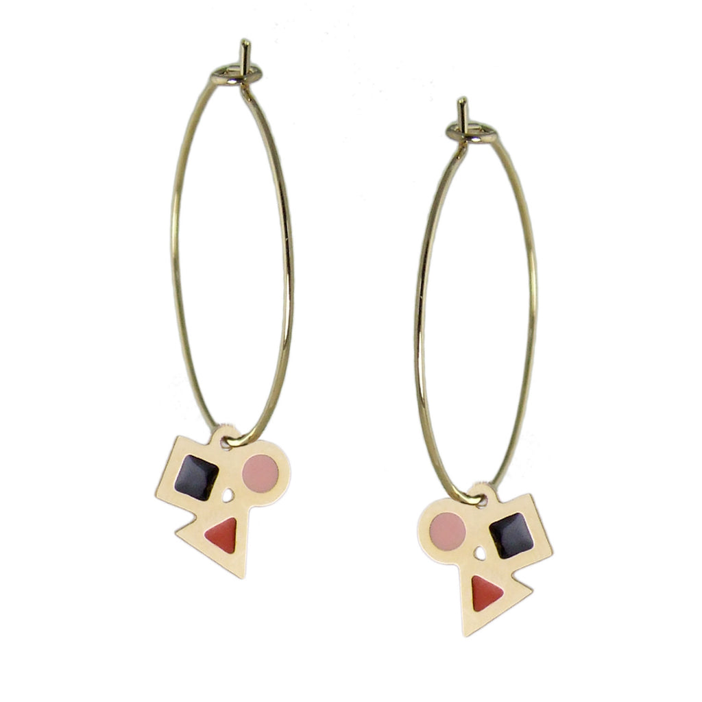 Delicate geometric enamelled hoop earrings