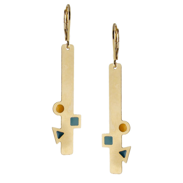 handmade aliquo gold bar earrings with geometric shapes