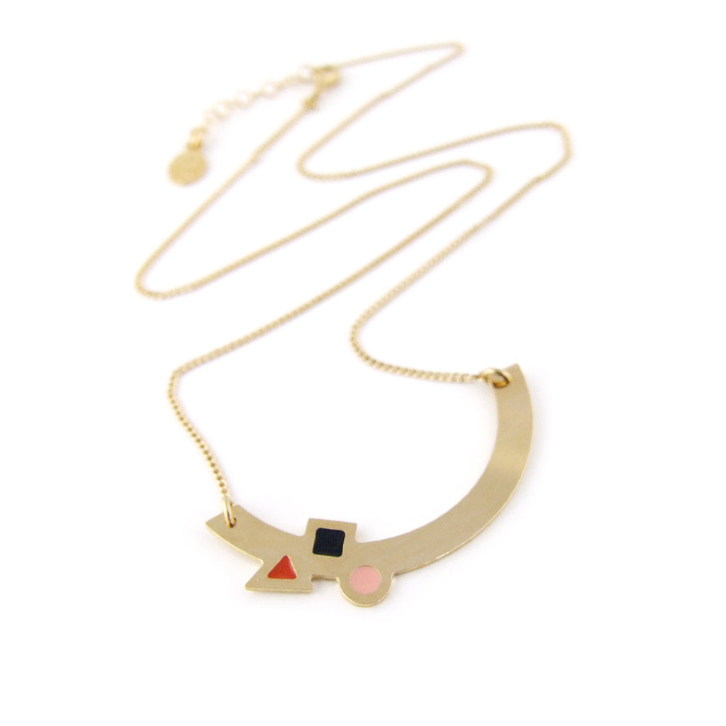Gold arc enamelled necklace