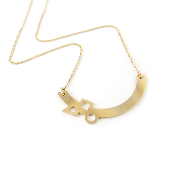 Geometric gold arc necklace