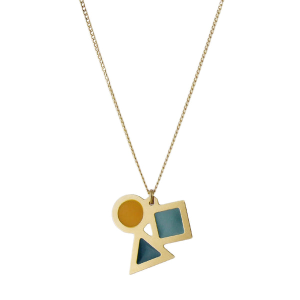 Gold playtime shapes necklace