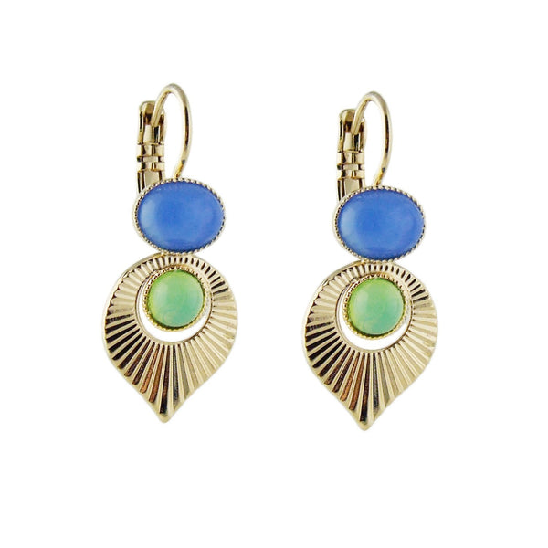 Aliquo handmade Art Deco style gold earrings in mint green and blue