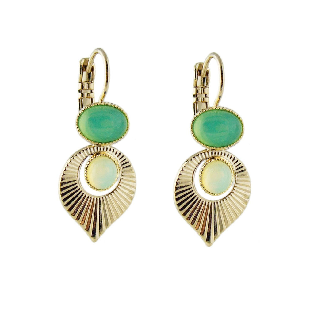 Aliquo handmade Art Deco style gold earrings in mint green and yellow