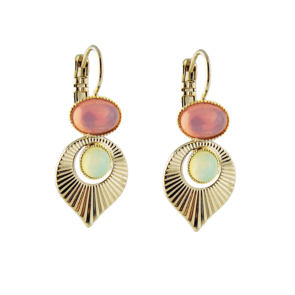 Aliquo handmade Art Deco style gold earrings in pink and yellow