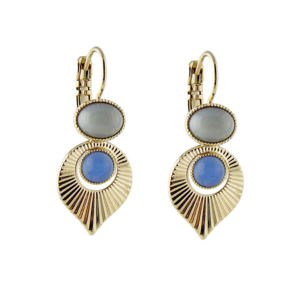 Aliquo handmade Art Deco style gold earrings in grey and blue