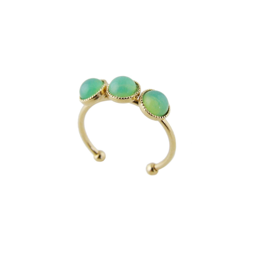 Aliquo handmade gold ring in opal mint green