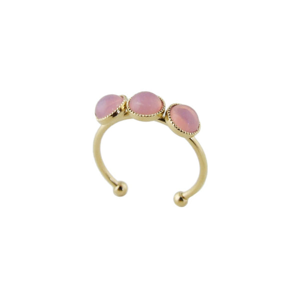 Aliquo handmade gold ring in opal pink