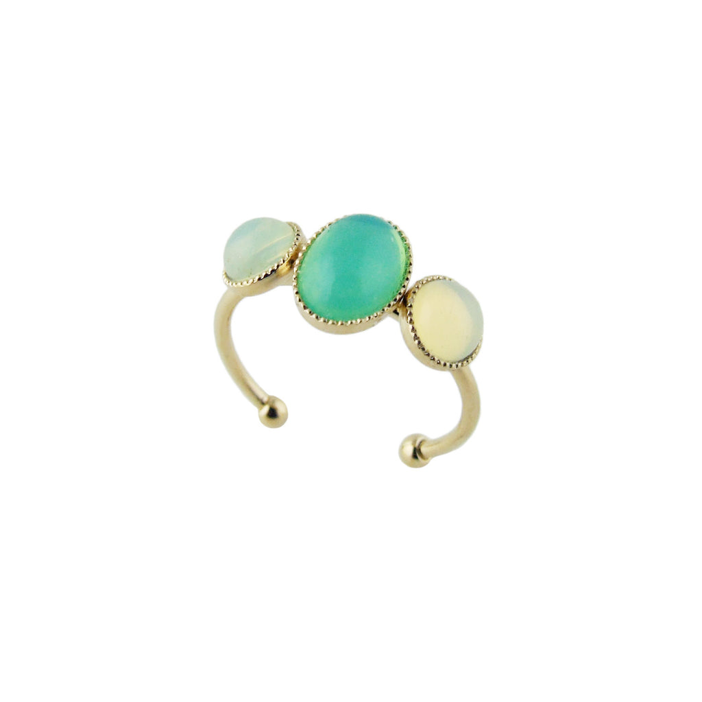 Aliquo handmade pastel ring in mint green and yellow