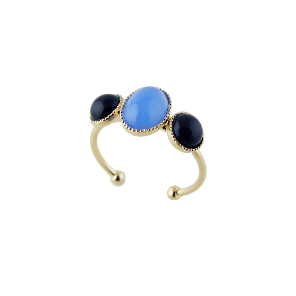 Aliquo handmade gold ring in blue and black