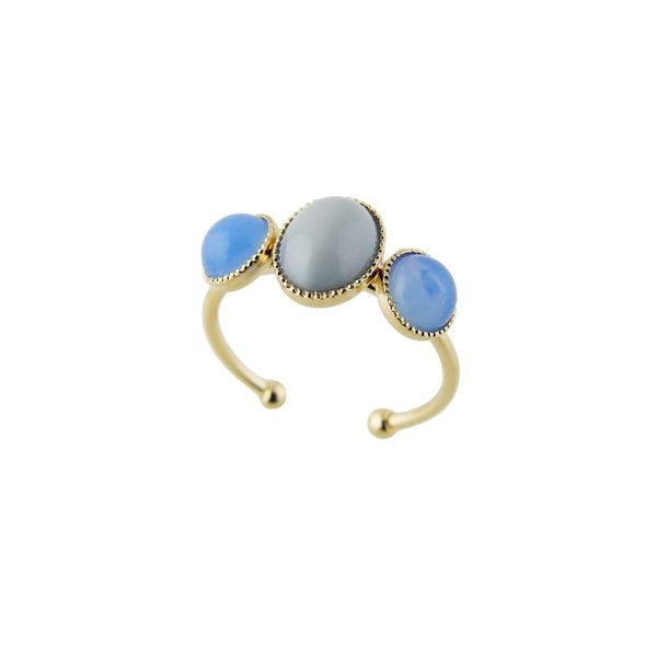 Aliquo handmade gold ring in grey and blue