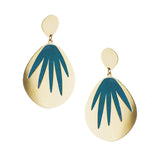 Enamelled palm leaf earrings