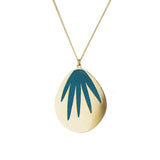 aliquo handmade emerald palm leaf necklace