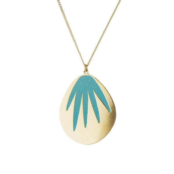 aliquo turquoise palm leaf necklace