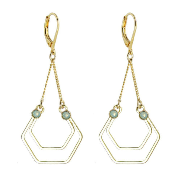Seventies style geometric gold earrings