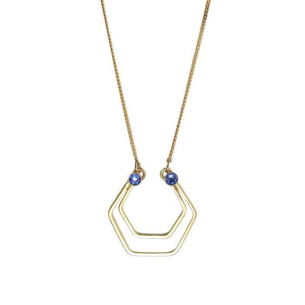 Geometric gold hexagons necklace