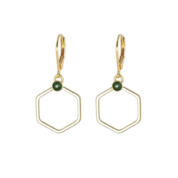 Small gold hexagon earrings
