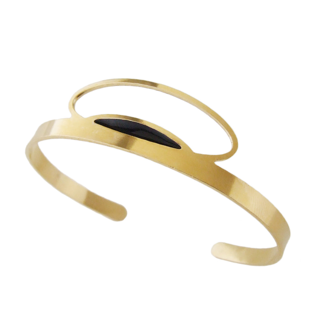 Thin gold cuff bracelet in black