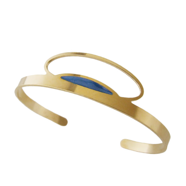 Thin gold cuff bracelet in blue